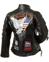 Diamond Plate Ladies' Rock Design Genuine Buffalo Leather Motorcycle Jacket (Small)
