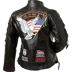 Diamond Plate Ladies' Rock Design Genuine Buffalo Leather Motorcycle Jacket (Small)