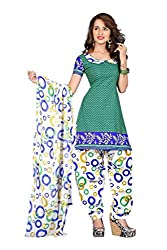 BanoRani Green & White PolyCotton Printed UnStitched Dress Material