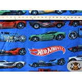 Hot Wheels Fleece Throw Blanket with Finished Edges (Blue)