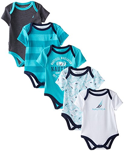 Nautica Baby-Boys Newborn 5 Pack Graphic Printed Bodysuit, Assorted, 6-9 Months