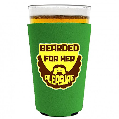 Coolie Junction Bearded For Her Pleasure Funny Pint Glass Coolie Bright Green