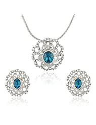 Mahi Rhodium Plated Blue Crystal Paradise Flower Pendant Set Made With Swarovski Elements For Women NL1104125RBlu...