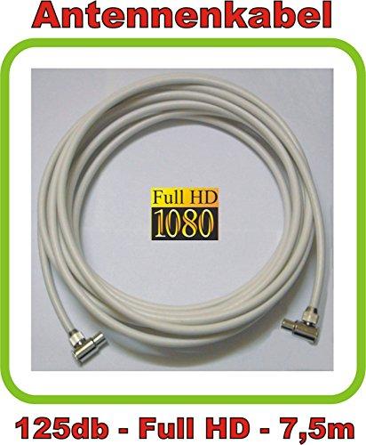 7,5m Antennenkabel/TV Kabel Premium-Line 125db - 5fach geschirmt - Full HD und 3D