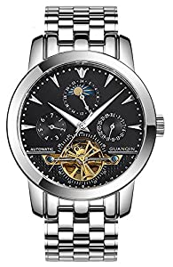 Fanmis Men Luminous Waterproof Automatic Mechanical Stainless Steel Watches Calendar Moon Phase Black