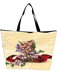 Snoogg Floral Vector Background Illustration With Bow And Floral Bouquet Waterproof Bag Made Of High Strength...