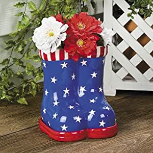 Patriotic boots planter 4th of july home for 4th of july home decorations