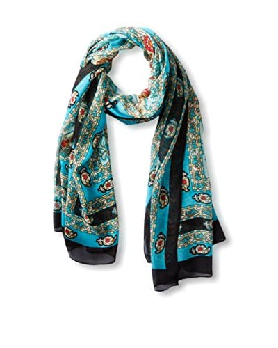 Theodora & Callum Women's Giverny Wearble Art Scarf, Turquoise/Multi
