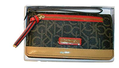 CALVIN KLEIN Signature Brown & Red Combo Wallet / Wristlet