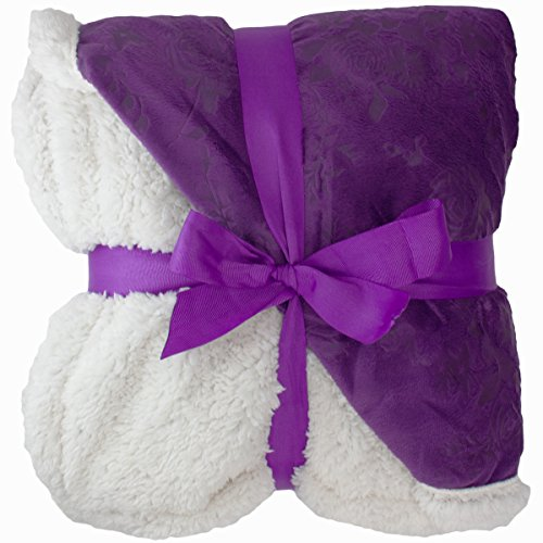 Find Cheap Floral Embossed Sherpa Throw Blanket 50 x 60 Reversible Textured Fuzzy Soft Purple