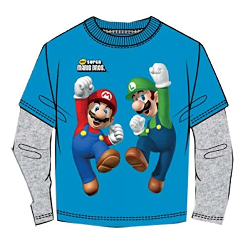 Super Mario Bros T-shirt a maniche lunghe blu (140)