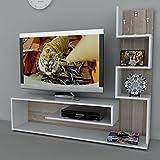 DUCHESS Set Soggiorno- Parete Attrezzata - Bianco / Noce - Parete attrezzata - Mobile TV Porta con mensola in un design moderno