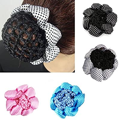 YUETON Pack of 4 Girl Women Bun Cover Snood Ballet Dance Polka Dot Hair Net hair Accessories