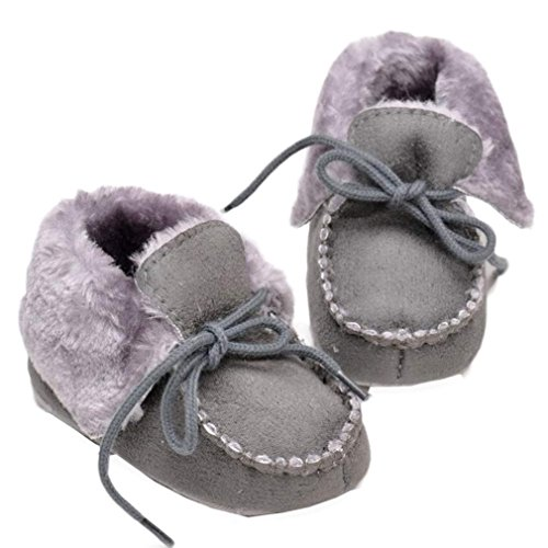 Voberry® Toddler Girls Boys Fleece Woollen Fur Knitted Snow Boot (0~6 Month, Grey)