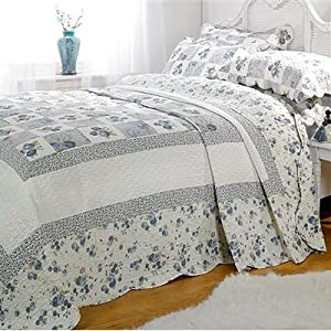 Emma Barclay Lille Patchwork 100% Cotton Quilted Bedspread Set, Blue, Single