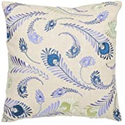 Safavieh Pillow Collection Peacock Feathers 18-Inch Cream and Blue Embroidered Decorative Pillows Set of 2
