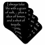 Xander funny quotes - I always take life with a grain of salt, plus a shot of tequila - set of 4 Ceramic Tile Coasters (cst_218473_3)
