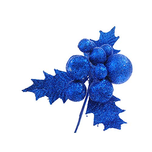 Deercon Glitter Artificial Wedding Christmas Leaves Baubles XMAS Tree Wreaths Decor Ornament(Blue)