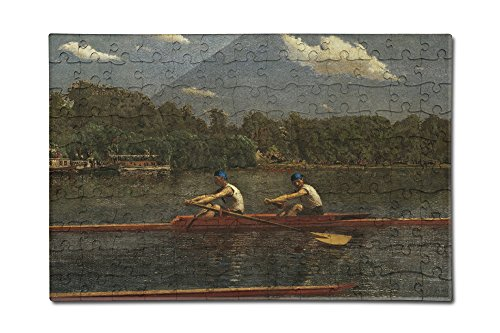 The Biglin Brothers Racing - Masterpiece Classic - Artist: Thomas Eakins c. 1872 (12x18 Premium Acrylic Puzzle, 130 Pieces) (Biglin Brothers compare prices)