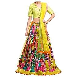 Awesome Fab Multi Color Semi-stitched Lehenga