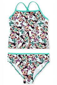 Square Neck Butterfly Print Tankini