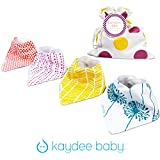 Kaydee Baby Bandana Drool and Dribble Bibs with Adjustable Snaps for Girls (Dandelions and Pink Dots) - 4 Pack Gift Set with FREE Bag