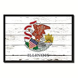 Illinois State Shabby Chic Flag Art Canvas Print Custom Picture Frame Office Wall Home Decor Gift Ideas, 19\