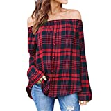 IEason Women's Casual Plaid Off Shoulder Long Sleeve Shirt Tops Blouse (M, Red)