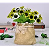 TiedRibbons® Diwali Gift Artificial Flowers With Vase (3.5 Inch X 3.6 Inch, Ceramic)