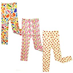 Wrapables Colorful Footless Tights Leggings, Set of 3 ( Lollipops and Candy, Blossom, Strawberry )