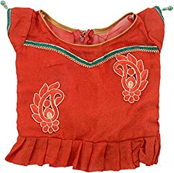 Kanchoo Girls' Velvet & Georgette Lehenga Choli (BSKF009_3-4years, Yellow & Red, 3-4years)