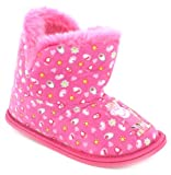 New Girls/Childrens Pink Bootee Slippers With Faux Fur Lining - Pink - UK 4-10
