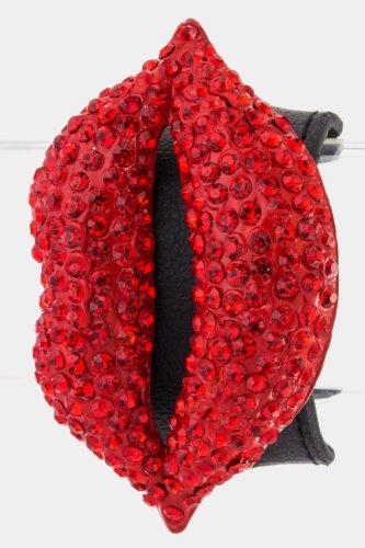 Karmas Canvas Lip Leather Bracelet (Red)