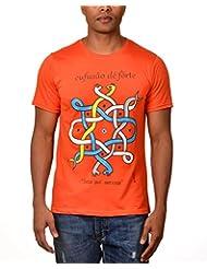Kuroki Cufusao De Forte - Mens Orange Colour Round Neck Tshirts