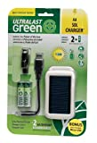 UltraLast Green Solar 2 AA/USB Charger with 2 AA Everyday Precharged Batteries