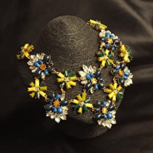 Colorful Sun Flower Garden Statement Necklace - Great Quality