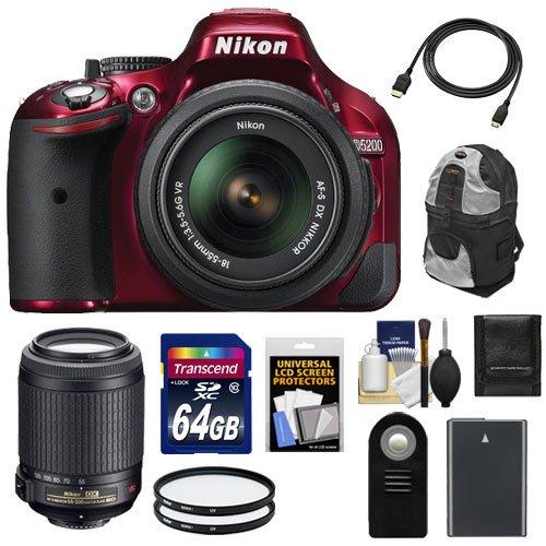 Nikon D5200 Digital Slr Camera & 18-55Mm G Vr Dx Af-S Zoom Lens (Red) With 55-200Mm Vr Lens + 64Gb Card + Battery + Backpack Case + Filters + Accessory Kit