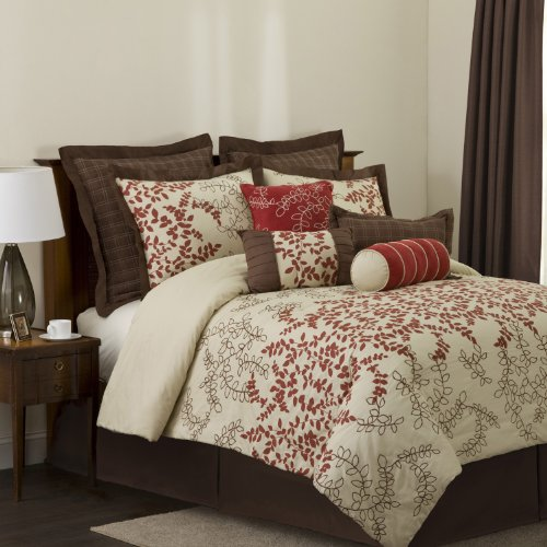 Brown And Red Bedding 8016 front