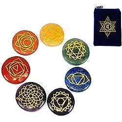 REIKI CHAKRA STONES w/ Heart Chakra Pouch ~ Set of 7 Chakra Stones With Engraved Chakra Symbols