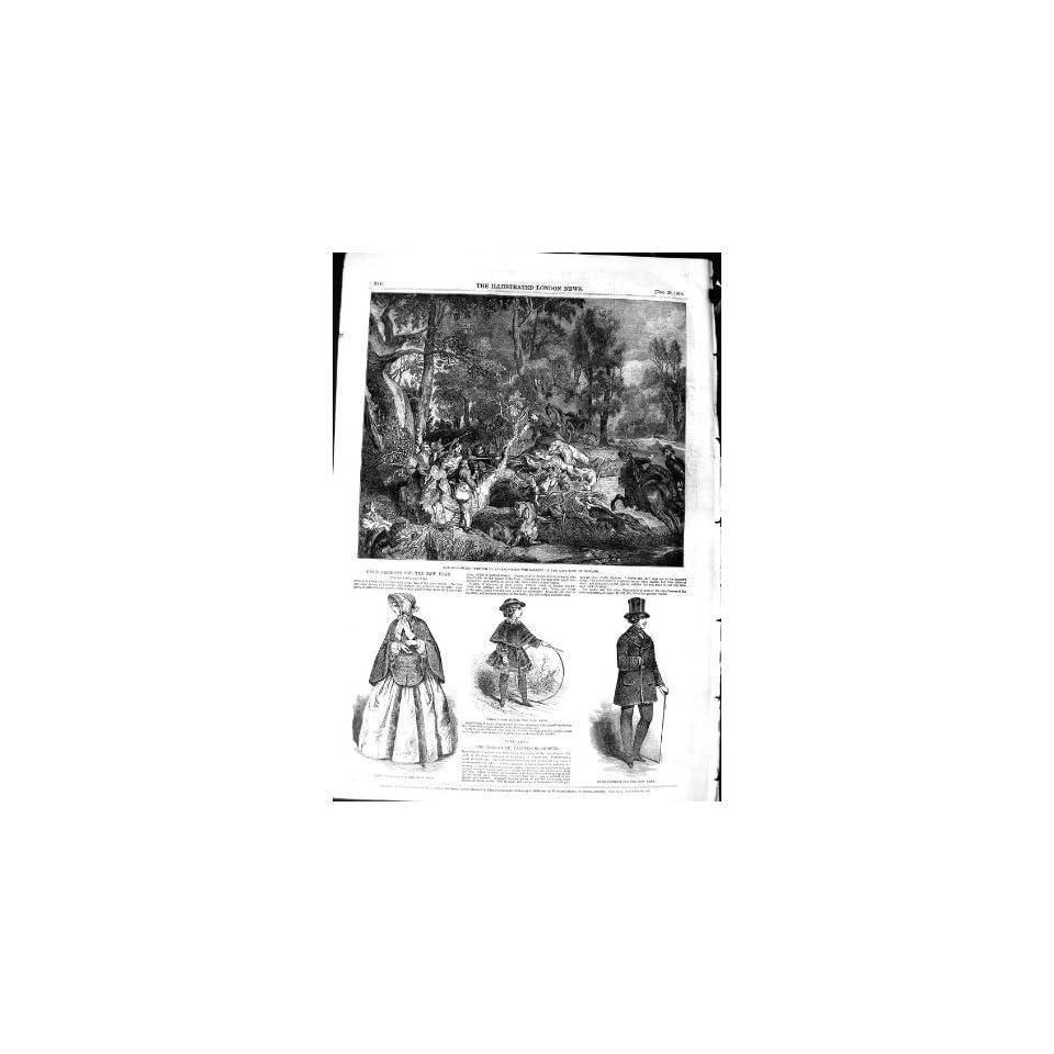 1850 BOAR HUNTING RUBENS KING HOLLAN PARIS FASHION
