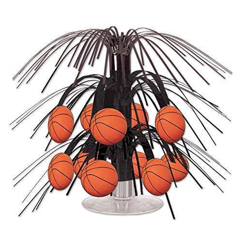 Beistle Basketball Mini Cascade Centerpiece, 7 1/2-Inch, Black/Brown