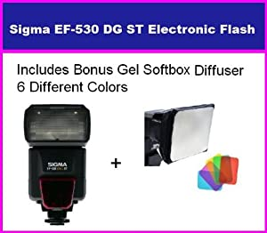 Sigma EF-530 DG ST Electronic Flash for Sony DSLR Alpha A900, A850, A700, A550, A500, A380, A330, A350, A300, A230, A200, & A100 + Bonus Gel Softbox Diffuser (6 Different Colors Inclluded)