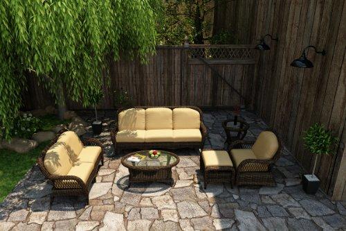 Forever Patio Leona 6 Piece Modern Outdoor Wicker Sofa Set With Golden Sunbrella Cushions (Sku Fp-Leo-6Ss-Mc-Cw)