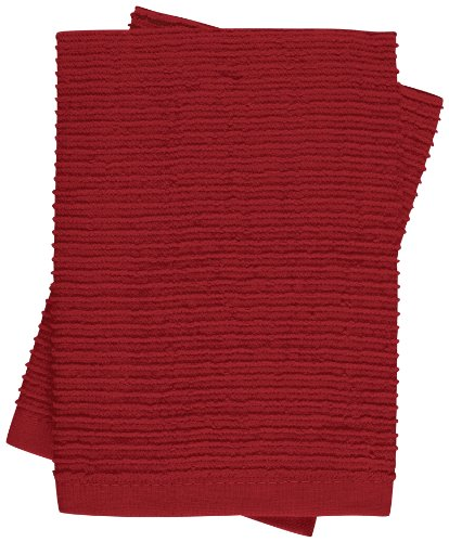 KAF Home Wave Dish Cloth, Set of 2, Cherry