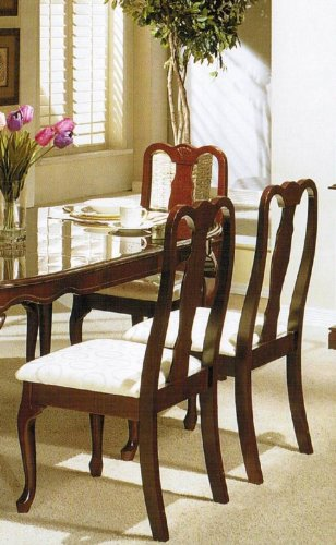 Set of 2 dining chairs queen anne style cherry finish for Queen anne style kitchen
