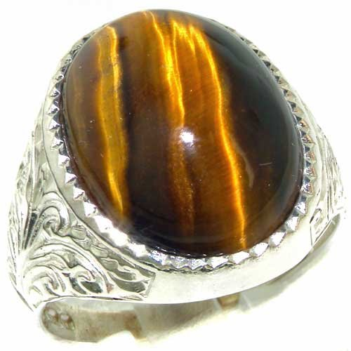 Gents Solid Sterling Silver Natural Tigers Eye Mens Signet Ring - Size 10 - Finger Sizes 6 to 13 Available