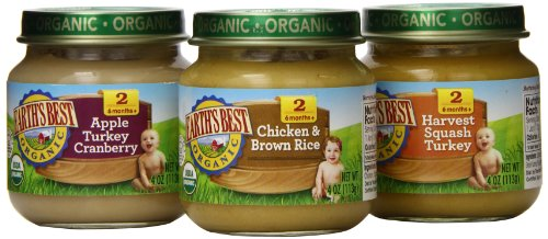 Earth's Best Organic Stage 2, Dinner Favorites Variety Pack, 12 Count, 4 Ounce Jars (Canned Baby Food compare prices)