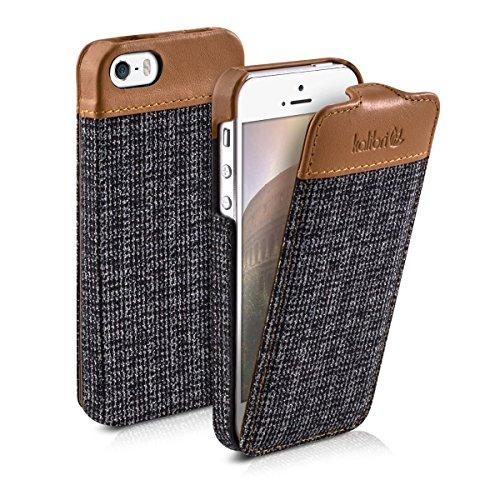 kalibri-Flip-Case-Hlle-Emma-fr-Apple-iPhone-SE-5-5S-Aufklappbare-Stoff-und-Echtleder-Schutzhlle-Tasche-im-Flip-Cover-Style-in-Braun-Anthrazit