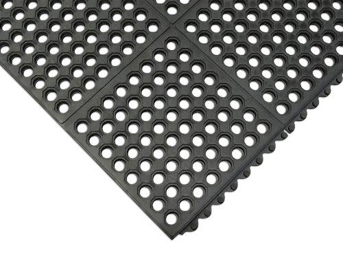 Rubber-Cal Dura-Chef Interlocking Anti-Fatigue Floor Mat - 5/8inchx3ftx3ft - Black Anti Slip Mat