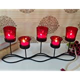 TIEDRIBBONS Decorative T Light Holder (Black, Metal) With T-light Candle